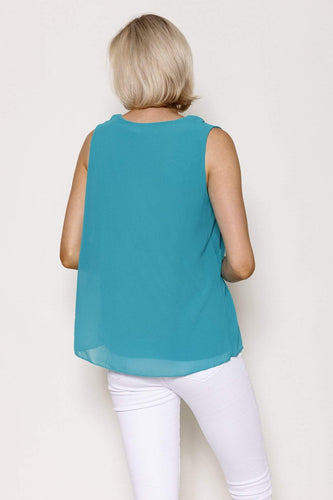 Pala D'oro Tops Frill Front Top in Green