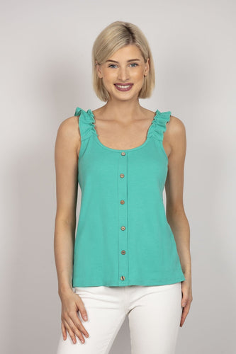 Pala D'oro Tops Green / S/M Frill Shoulder Top in Green