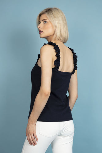 Pala D'oro Tops Frill Shoulder Top in Navy