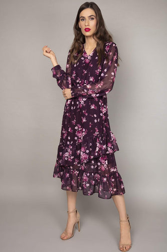 Rowen Avenue Dresses Purple / 8 / Midi Frill Skirt Roses Dress in Purple