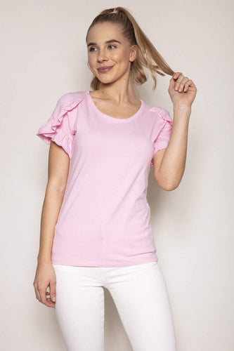 Kelly & Grace Weekend Tops Pink / S / Short Frill Sleeve Tee in Pink