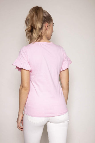 Kelly & Grace Weekend Tops Frill Sleeve Tee in Pink