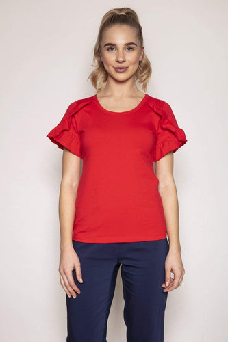 Kelly & Grace Weekend Tops Red / S / Short Frill Sleeve Tee in Red