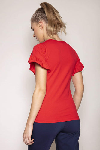 Kelly & Grace Weekend Tops Frill Sleeve Tee in Red