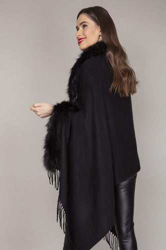 SOUL Accessories Ponchos Black / One Fringe Faux Fur Front Edge Poncho in Black