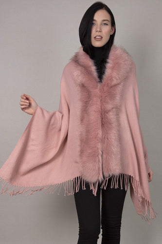 SOUL Accessories Ponchos Pink / One Fringe Faux Fur Front Edge Poncho in Pink