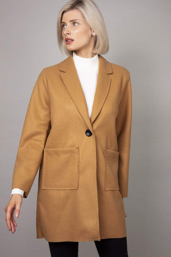Pala D'oro Coats Front Pocket Coat in Beige