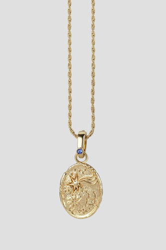 Newbridge Silverware Necklaces Galaxy Pendant with Blue Stone Detail in Gold