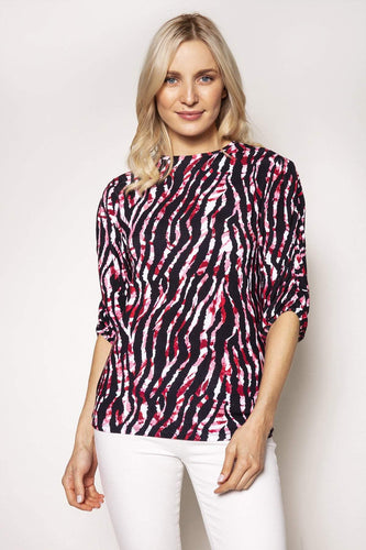 Rowen Avenue Tops Pink / S / 3/4 Sleeve Gather Animal Print Top in Pink