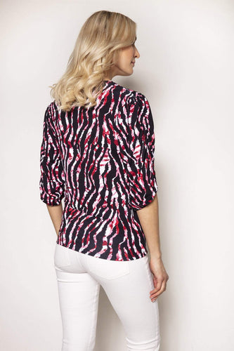 Rowen Avenue Tops Gather Animal Print Top in Pink