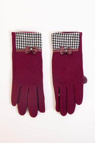 SOUL Accessories Gloves One / Burgundy Geo and Lace  Detail Gloves in Burgundy