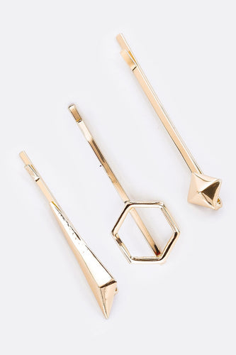 SOUL Accessories Hair Slides Gold Geometric Gold Hair Slides 3 Pack