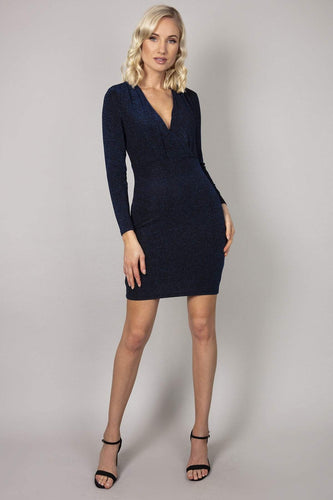 Nova of London Dresses Black / 8 / Mini Glitter Wrap Front Dress in Cobalt