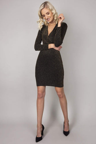 Nova of London Dresses Black / 8 / Mini Glitter Wrap Front Dress in Gold