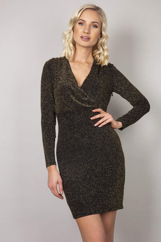 Nova of London Dresses Glitter Wrap Front Dress in Gold