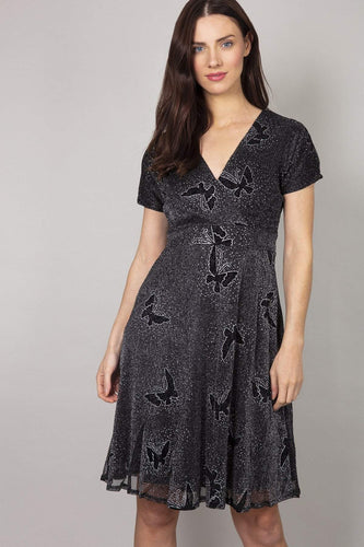 Mela London Dresses Glitz Butterfly Dress in Black