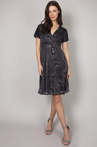 Mela London Dresses Black / 10 / Over the knee Glitz Butterfly Dress in Black