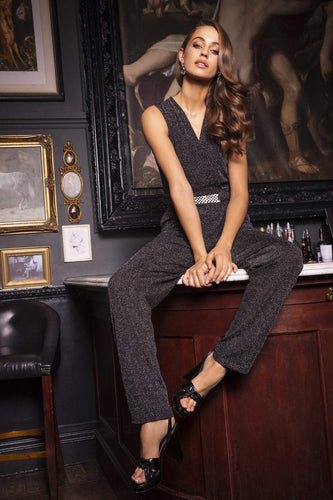 Mela London Jumpsuits Glitz Cold Shoulder Jumpsuit in Black