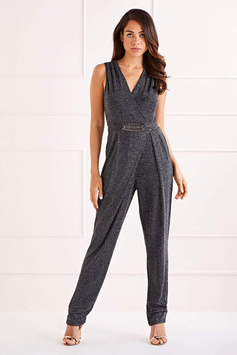 Mela London Jumpsuits Glitz Sleeveless Jumpsuit in Black