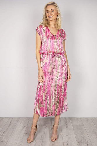 J'aime la Vie Dresses Pink / 10 / Midi Gold Detail Maxi Dress in Pink