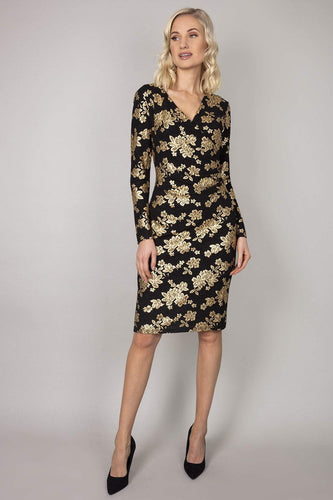 Mela London Dresses Black / 10 / Over The Knee Gold Foil V-Neck Bodycon Dress in Black