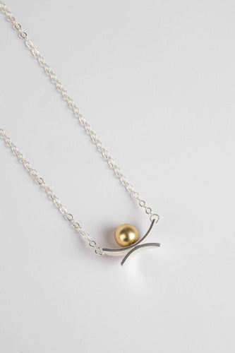 Joularie Necklaces Silver Gold Pearl Detail Necklace in Silver