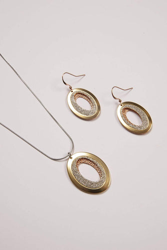 Joularie Necklaces Multi Gold Scratched Circle Necklace