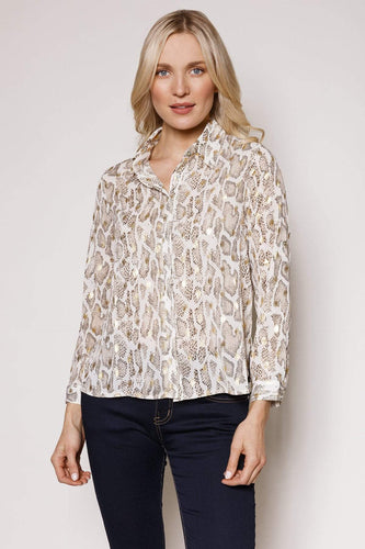 Rowen Avenue Tops Gold / S / Long Sleeve Gold Snake Blouse