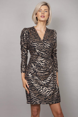 Golden Wrap Dress in Animal Print
