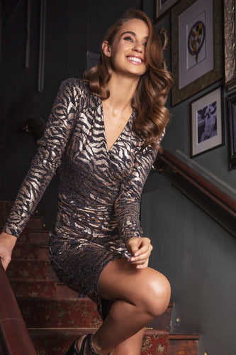 J'aime la Vie Dresses Golden Wrap Dress in Animal Print