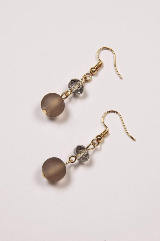Joularie Earrings Gold Grey Stone Gold Earrings
