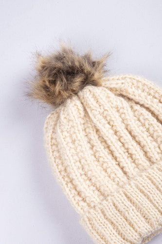 SOUL Accessories Hats Hat with Brown Pom Pom in Beige