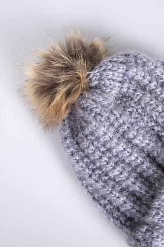 SOUL Accessories Hats Hat with Brown Pom Pom in Grey