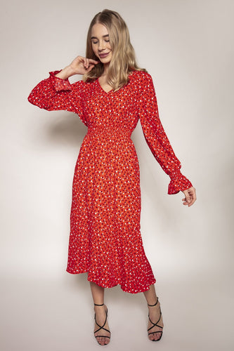 Rowen Avenue Dresses Heart Print Dress in Red
