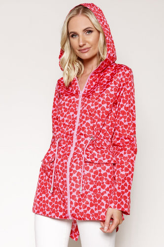 Kelly & Grace Weekend Jackets Pink / 8 Heart Printed Mac in Pink