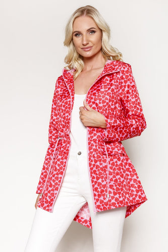Kelly & Grace Weekend Jackets Heart Printed Mac in Pink