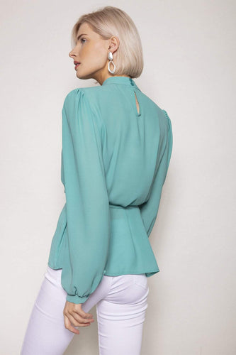 Pala D'oro Tops High Neck Belted Top in Tiffany