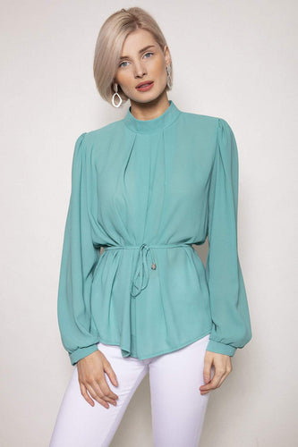 Pala D'oro Tops Blue / S/M / Long Sleeve High Neck Belted Top in Tiffany