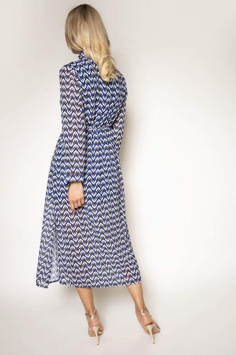 Pala D'oro Dresses High Neck Print Dress in Blue