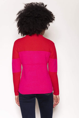 Rowen Avenue Jumpers High Neck Rib Knit in Red and Pink