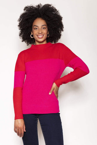 Rowen Avenue Jumpers Red / S / Long Sleeve High Neck Rib Knit in Red and Pink
