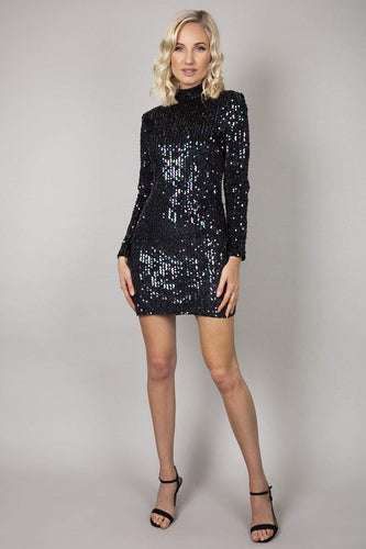Nova of London Dresses Black / 8 / Mini High Neck Sequin Dress in Black