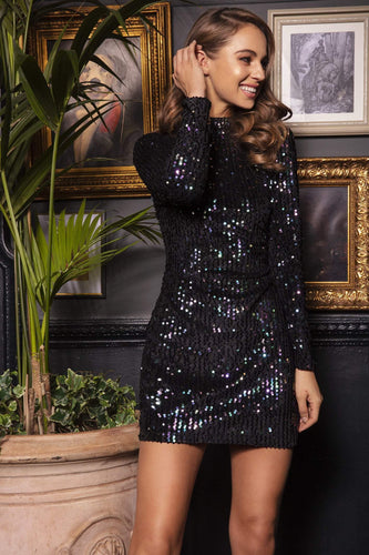Nova of London Dresses High Neck Sequin Dress in Black