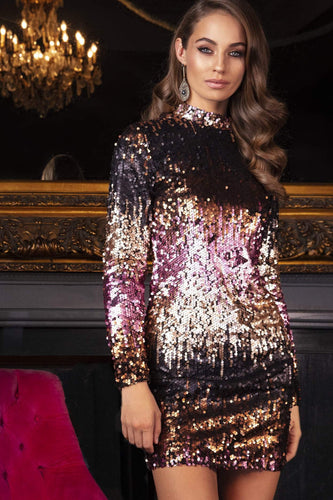 Nova of London Dresses High Neck Sequin Dress