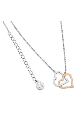 Tipperary Crystal Jewellery Necklaces Silver Interlinked Two Tone Heart