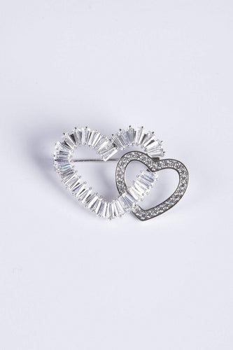 Knight & Day Brooches Silver Intertwined Hearts Brooch