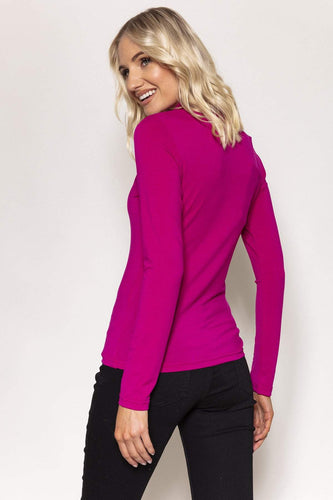 Kelly & Grace Weekend Tops Jersey Roll Neck Top in Cerise