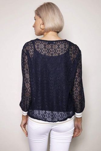 J'aime la Vie Tops Knit Lurex Top in Navy