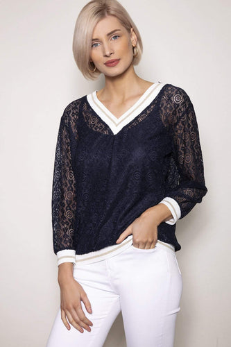 J'aime la Vie Tops Navy / 10 / 3/4 Sleeve Knit Lurex Top in Navy