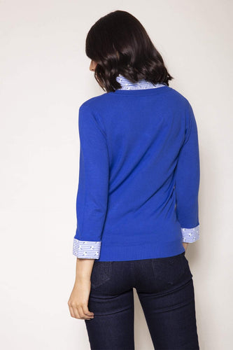 Voulez Vous Jumpers Knit Top Shirt Collar in Blue